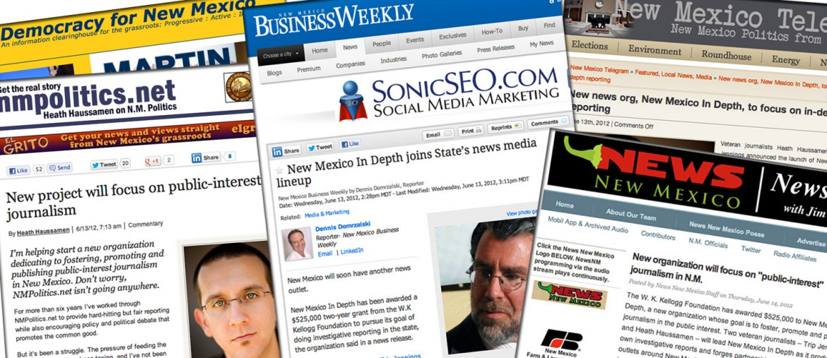 Some of the online media coverage New Mexico In Depth's announcement received.