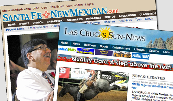 Screen shots taken from the Las Cruces Sun-News and Santa Fe New Mexican websites.