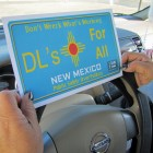 A mock driver's license plate immigrant advocates use to defend a New Mexico law that allows undocumented immigrants to get driver's licenses. (Mónica Ortiz Uribe/Fronteras Desk)