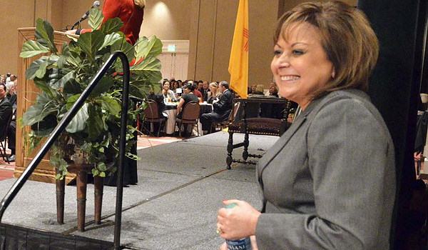 "Gov. Susana Martinez waits to speak to business groups in Albuquerque on Thursday about improving education and growing the economy. ""Competing for jobs means competing for a well-trained workforce. We want our children to receive a quality education in New Mexico, and we want them to stay here, work here, and support the needs of our varied industries,"" she said. (Clyde Mueller/The Santa Fe New Mexican)"