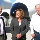 Gov. Susana Martinez, center, was joined by U.S. Rep. Steve Pearce, left, and Virgin Group founder Richard Branson at the dedication ceremony for Spaceport America's terminal-hangar last year. Virgin Galactic awaits action from the Legislature on a bill it says is important to Spaceport America that would protect companies supplying parts to spaceships from being sued. (Robin Zielinski/Las Cruces Sun-News)