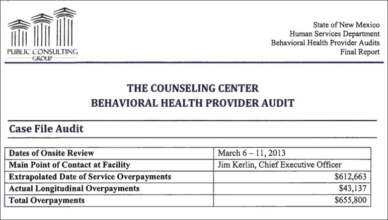 A screenshot of a page from the portion of the Public Consulting Group audit that details findings for The Counseling Center in Alamogordo.