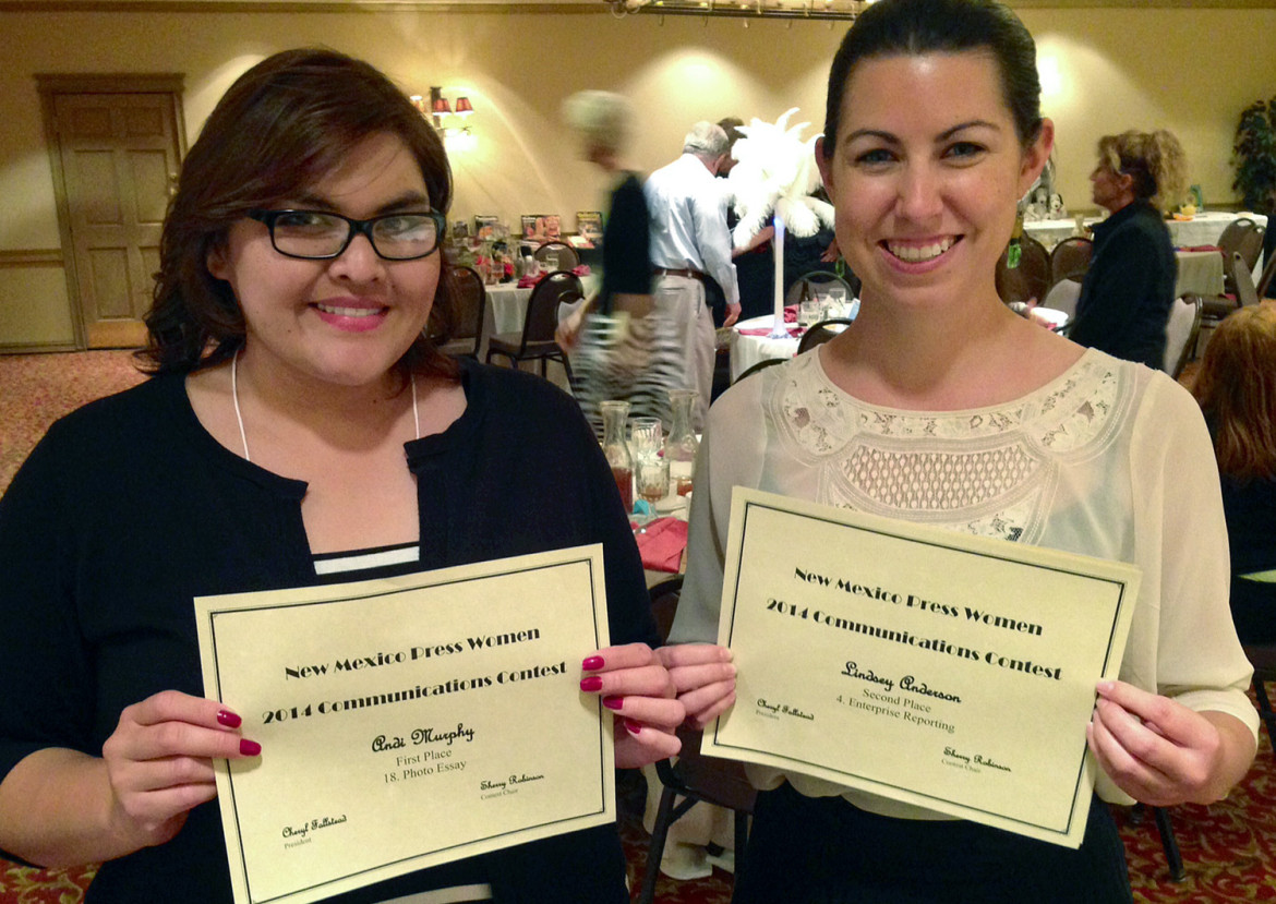 Las Cruces Sun-News reporters Andi Murphy, left, and Lindsey Anderson, who won awards at Saturday's New Mexico Press Women annual conference for work they did with New Mexico In Depth. Anderson also won an award in the Society of Professional Journalists' Top of the Rockies competition on Friday.
