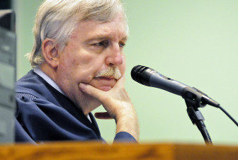 Judge Douglas R. Driggers listens while Attorney C.J. McElhinney speaks on behalf of the Las Cruces Sun-News and New Mexico in Depth during Thursday's hearing.