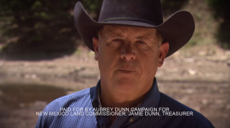 A screen shot of Republican Land Commissioner Candidate Aubrey Dunn's TV ad.