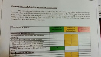 A brochure created by an ad hoc committee of Roswell officials shows the drop off in services for the mentally ill in the city itself and Chaves County.