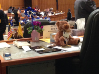 Teddy bears from the New Mexico Primary Care Association adorned the desks of House members Thursday, Feb. 5. Lobbyists for the organization distribute the bears annually.
