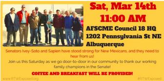 Albuquerque unions will  go door-to-door Saturday to thank two Democratic senators who voted down anti-union legislation.