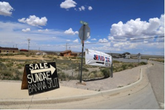 There are no shortages of food options in Crownpoint, You just have to drive around and look for signs like this. Andi Murphy/New Mexico In Depth
