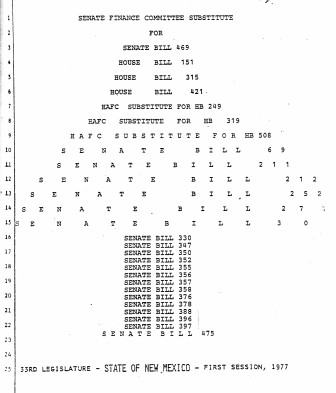 "The title page of the first omnibus capital outlay bill in 1977, aka the ""Christmas Tree Bill."""
