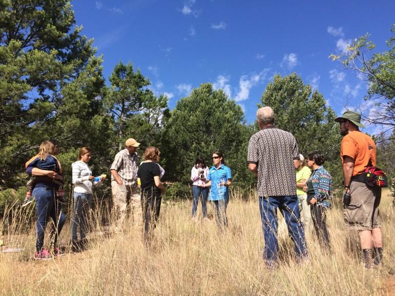 Krista Bonfantine leads a workshop on tree rings for Albuquerque Public School teachers at the Sandia Mountain Natural History Center.