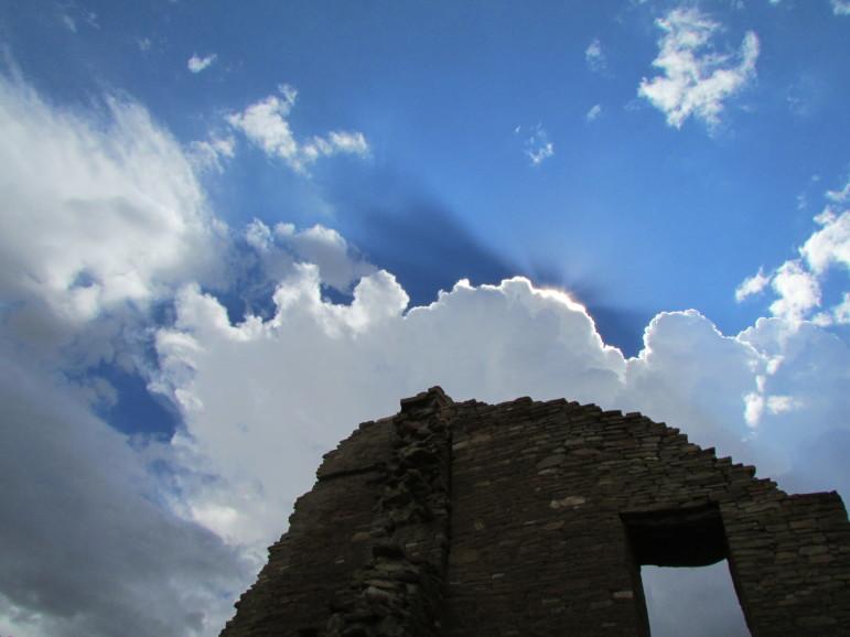 Blue skies above Pueblo Bonito at Chaco Cultural National Historical Park.