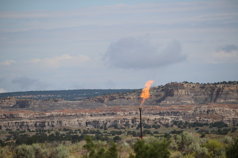 Flaring from an oil well in northwestern New Mexico.