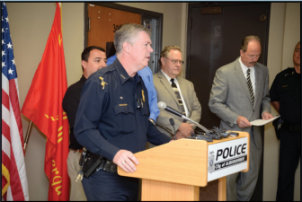 Former APD Chief Ray Schultz speaking at a press conference in 2012