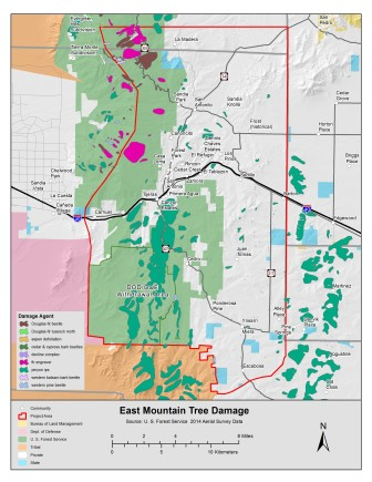 A map from the East Mountain Community Wildlife Protection Plan Update shows the extent of insect and disease damage in the Sandias.