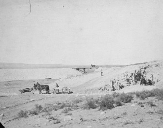 Avalon Dam's headgate channel during excavation, ca. 1899. Courtesy of University of Oklahoma Press.