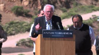 Presidential candidate Bernie Sanders speaks at the U.S.-Mexico border in March.