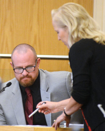 Albuquerque Police Detective Geoff Stone, left, is questioned by Special prosecutor Randi McGinn, while in the witness stand in the trial of Former APD officers Keith Sandy and Dominique Perez, who are accused of fatally shooting James Boyd in March 2014. Photographed on Thursday September 22, 2016.Adolphe Pierre-Louis/JOURNAL